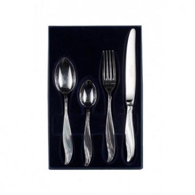 Zestaw srebrnych sztućców obiadowo-deserowych