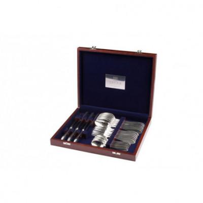Zestaw srebrnych sztućców obiadowych w drewnianej kasecie – 24 szt.