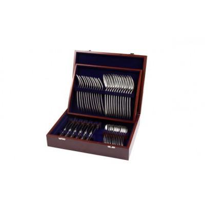 Zestaw sztućców obiadowych ze stali szlachetnej w drewnianej kasecie - 48 szt.