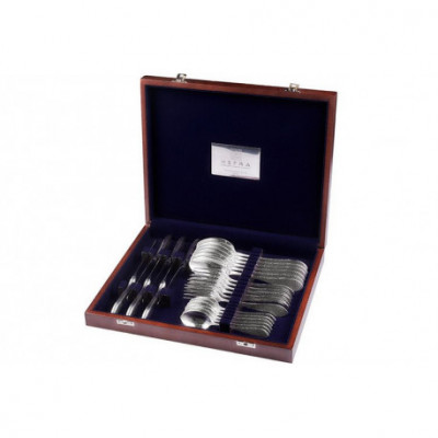 Zestaw srebrnych sztućców obiadowych w drewnianej kasecie - 24 szt.