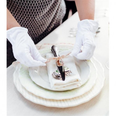 Cotton gloves for cleaning and care of silverware and plated products