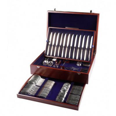 Zestaw srebrnych sztućców obiadowych w drewnianej kasecie - 81 szt.