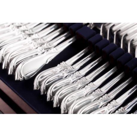 Zestaw posrebrzanych sztućców stołowych w drewnianej kasecie - 48 szt.